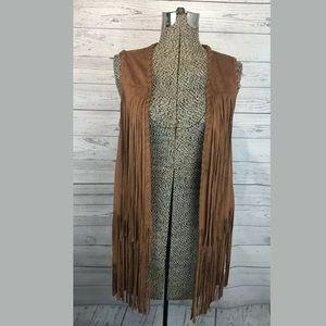 Tobi fringe vest size medium brown faux suede